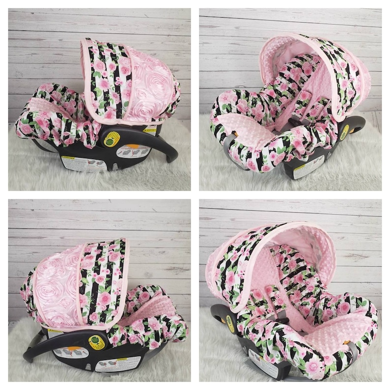 ELEPHANTS//PINK MINKY INFANT CAR SEAT SLIP COVER Graco fit-custom sizes available