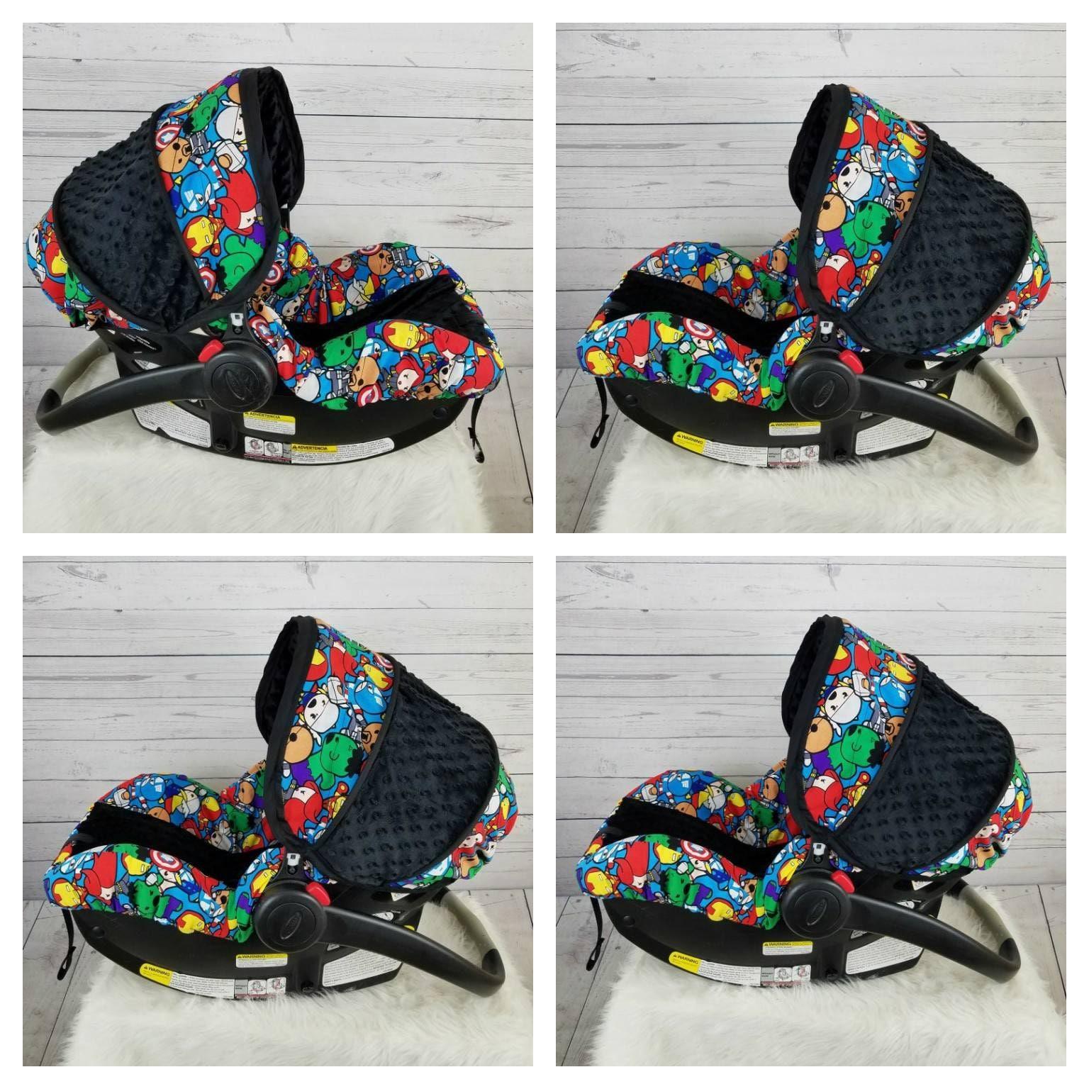 baby avengers super hero infant car seat cover with black etsy. Black Bedroom Furniture Sets. Home Design Ideas