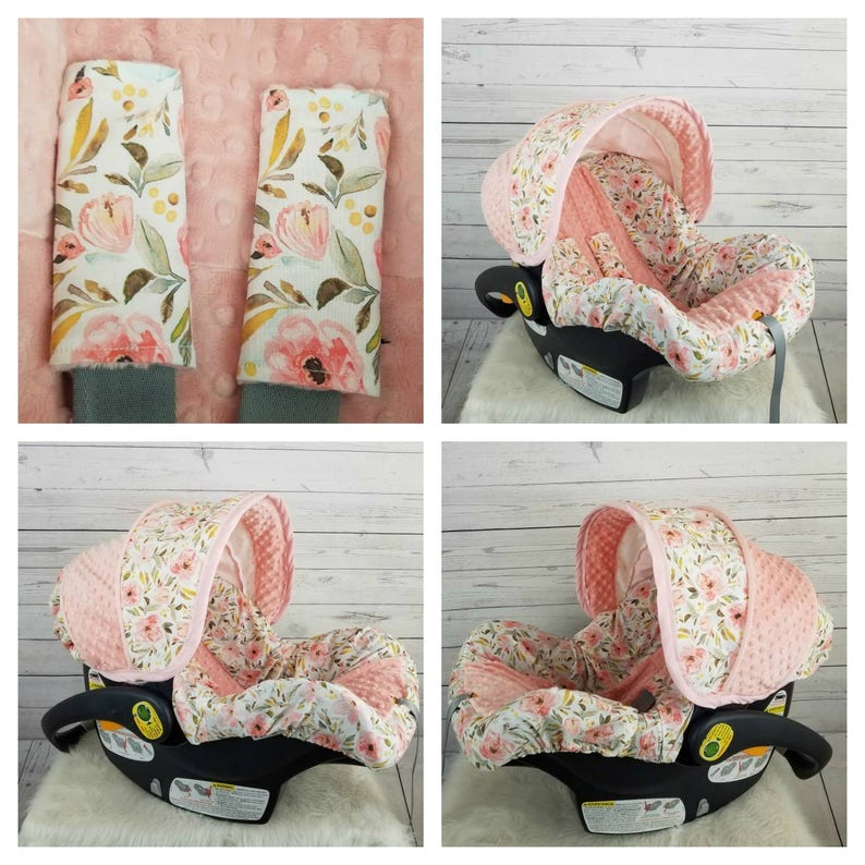 e63183746624 Pink and peach floral baby car seat cover - custom order