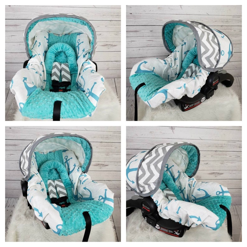infant car seat cover and hood cover chevron with anchors and teal minky