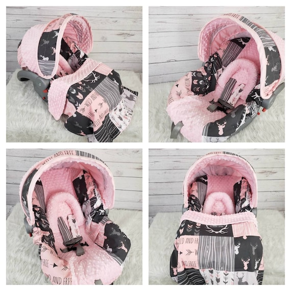 Pink Patchwork Deer Car Seat Cover Deer Girl Infant Car Seat Etsy