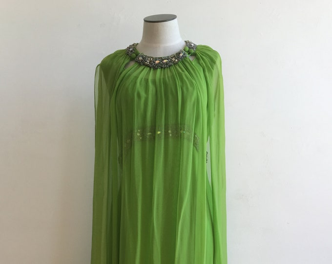 60s Rhinestone Green Silk Chiffon Dress with Over mantle