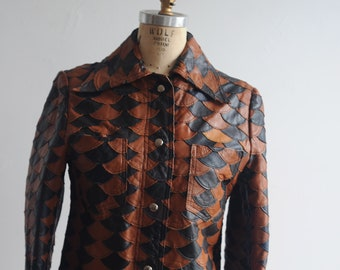 1970s Fish Scale Leather Jacket Women's M