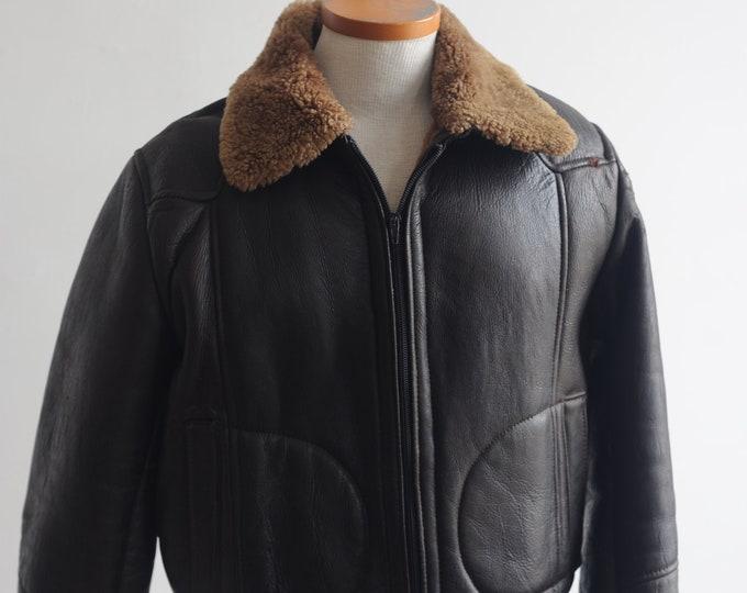 1970s Sheepskin Bomber Jacket Mens 38