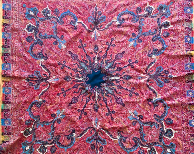 Early 1800s Kashmiri Paisley Shawl, Hand Woven and Pieced
