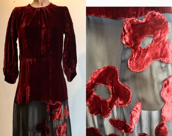 1930s Burgundy and Black Silk Velvet Gown w Floral Appliqué