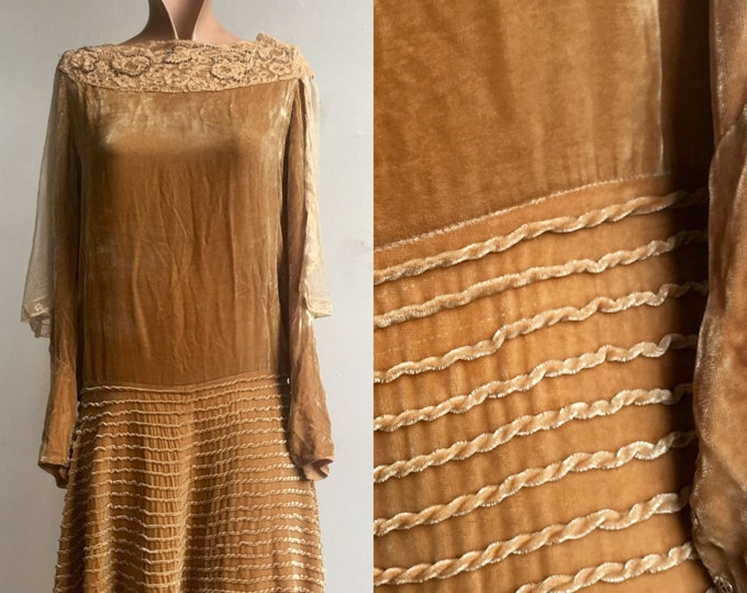 1920s Autumnal Gold Velvet  Flapper Dress with Lace Cape