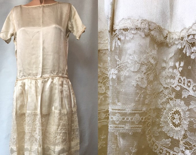 1920s Ivory Silk and Lace Drop Waist Dress