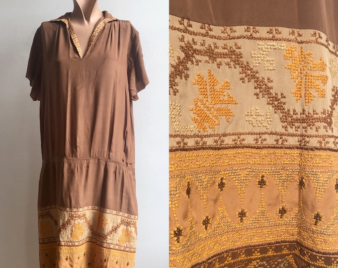 1920s Autumn Colors Cross Stitch Flapper Dress