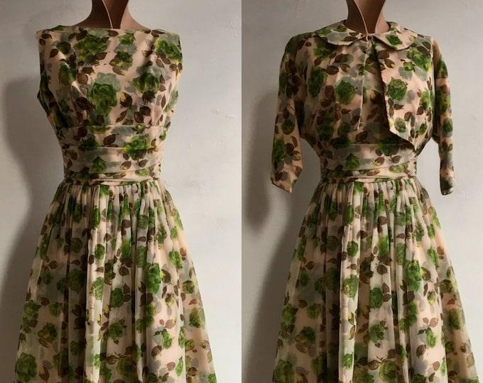 1950s Green Rose Print Dress w matching Jacket