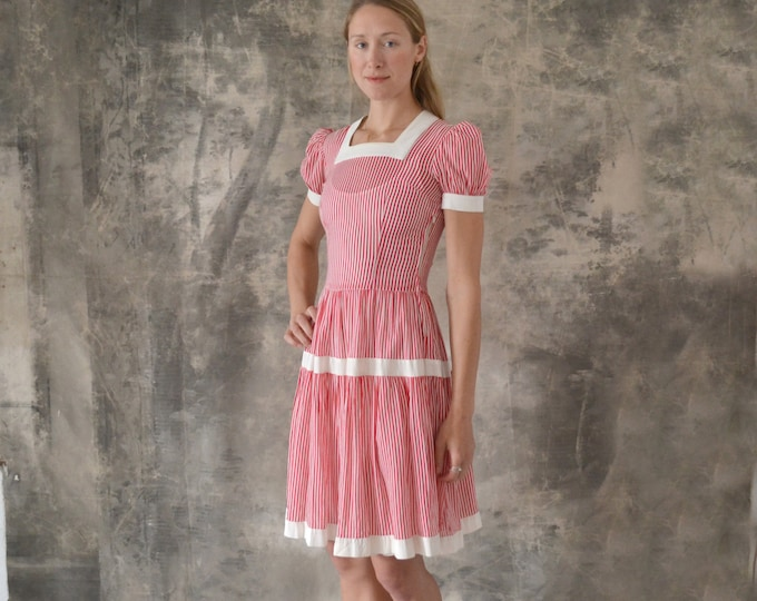 1940s Candy Stripe Sheer Cotton Dress size S