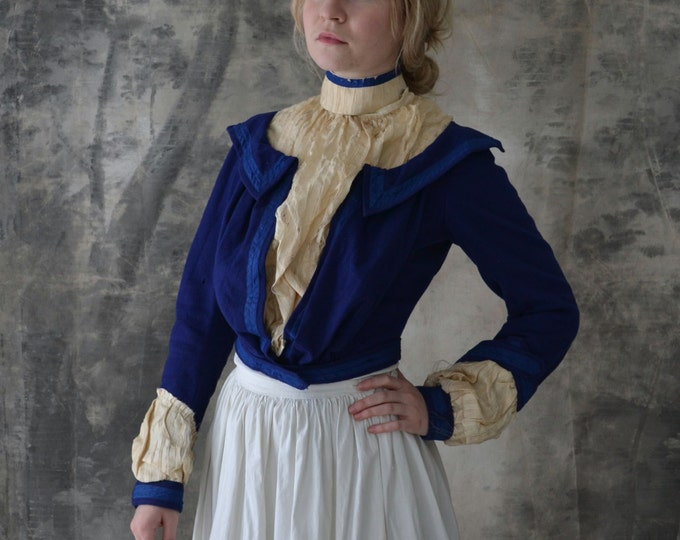 Victorian Blouse Blue Wool