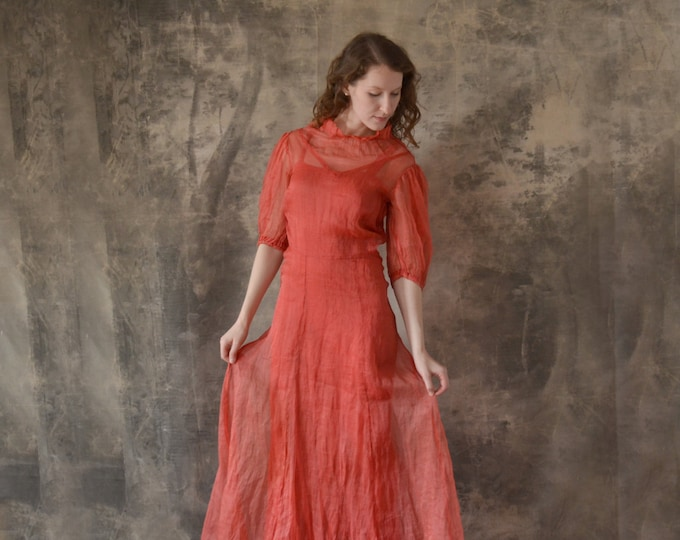 1930s Red Linen Dress size XS