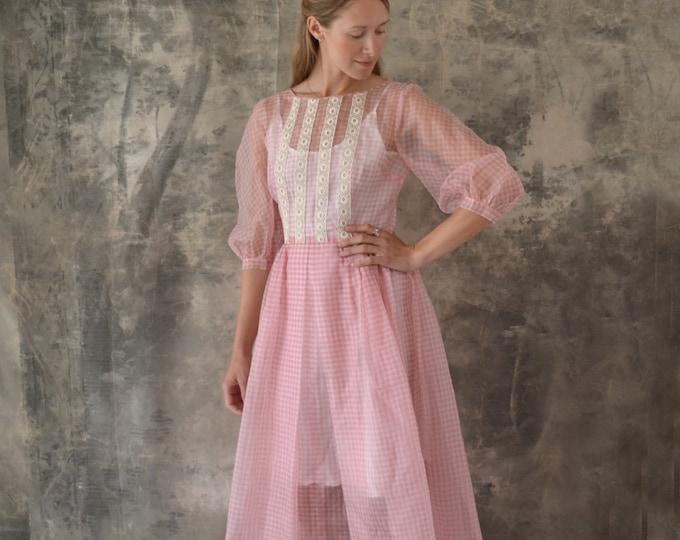1950s Sheer Pink Gingham Organza Dress size M
