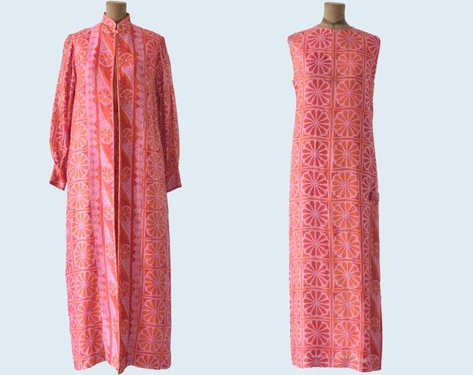 1970s Handmade Thai Silk Dress and Jacket Set size M
