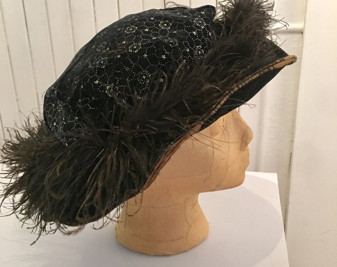 """Edwardian Velvet and Feather Hat 21"""""""