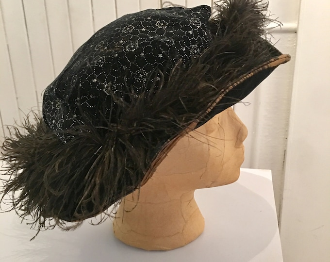 Edwardian Velvet and Feather Hat 21""
