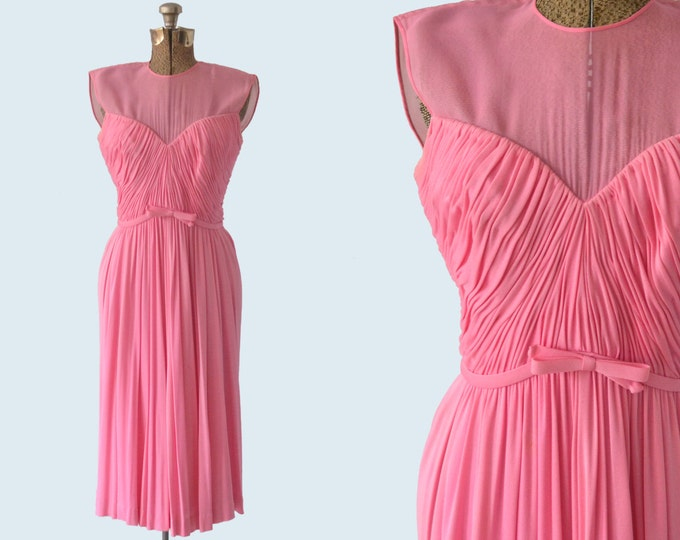 1960s Bright Pink Silk Knit Ruched Dress size S