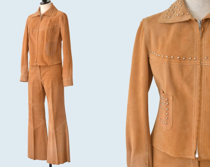Tan Suede Studded Western Suit size S