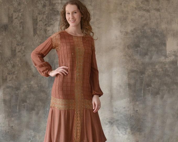 1920s Auburn Chiffon Dress size S