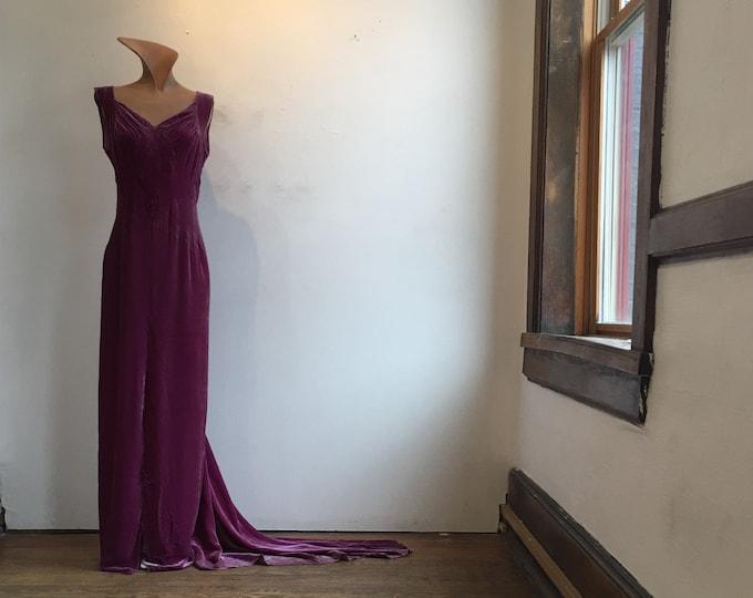 1930s Harvey Nichols Plum Silk Velvet Gown w Train