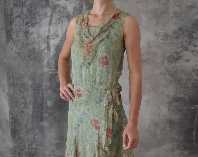 1920s Flapper Dress pale Green Poppy Floral