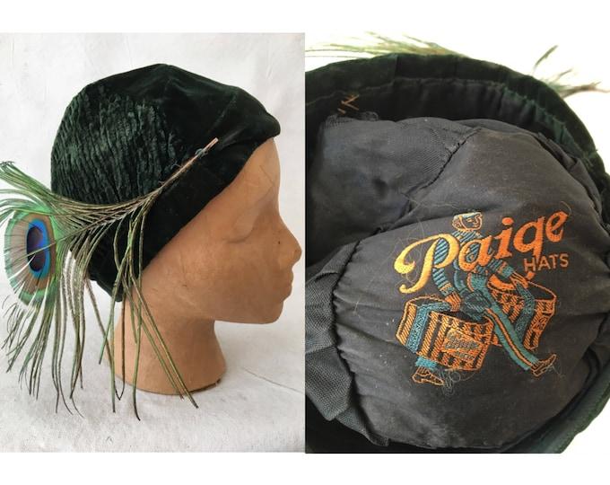 1920's Green Velvet Peacock Feather Cloche Hat