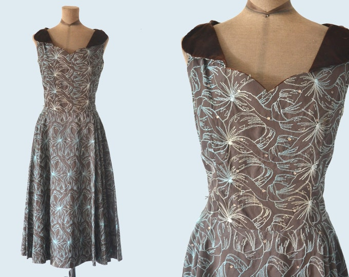 1950s Brown Satin Dress size M