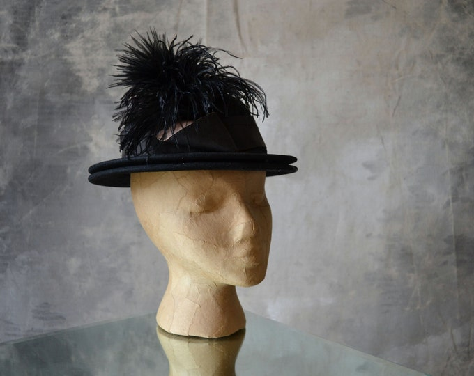 1930's Feather Plume Wool Bowler Hat