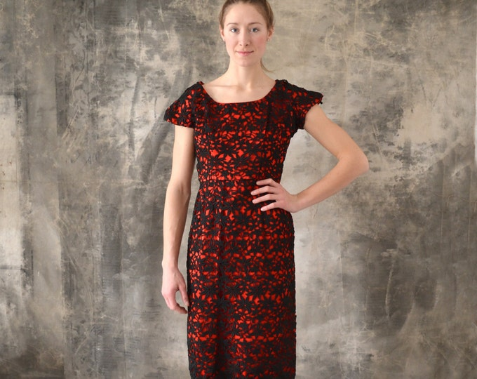 1950s Red and Black Lace Dress size M