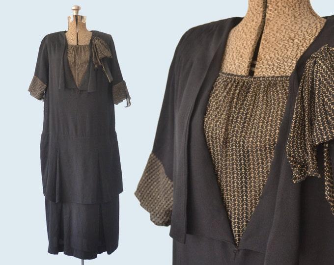 1920s Black Flapper Dress size M/L