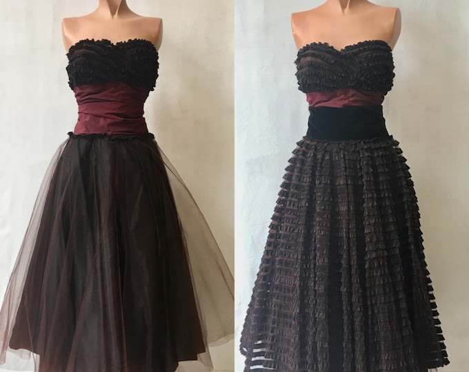 1950s Black/Brown Tulle Party Dress with two skirt options