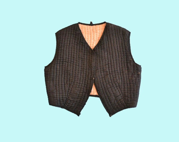 Small Black Silk Quilted Hands Stitched Victorian Vest