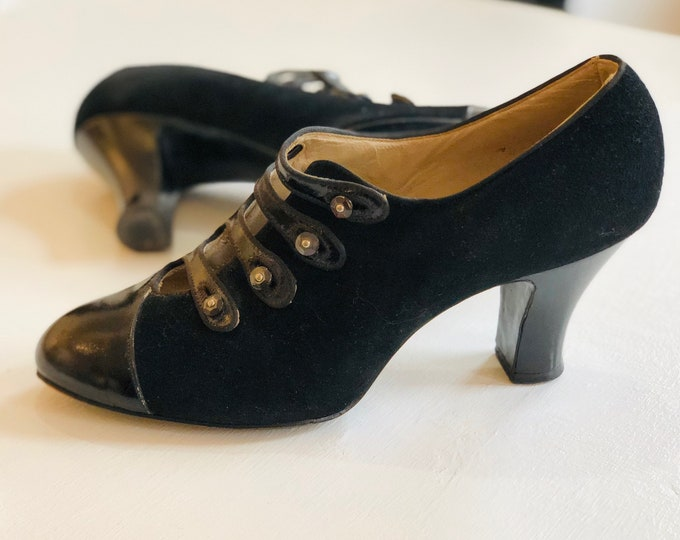 1920s flapper women's suede and patent leather shoes sz5