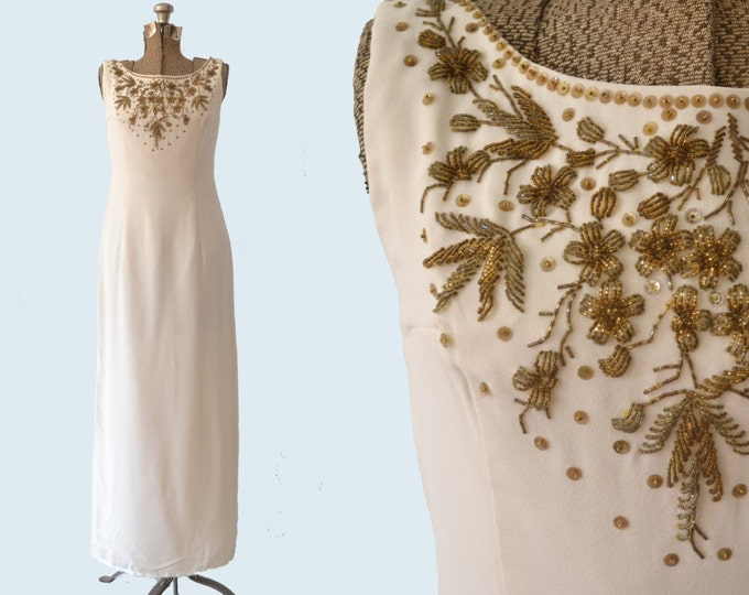 1960s Beaded Cream Gown size M