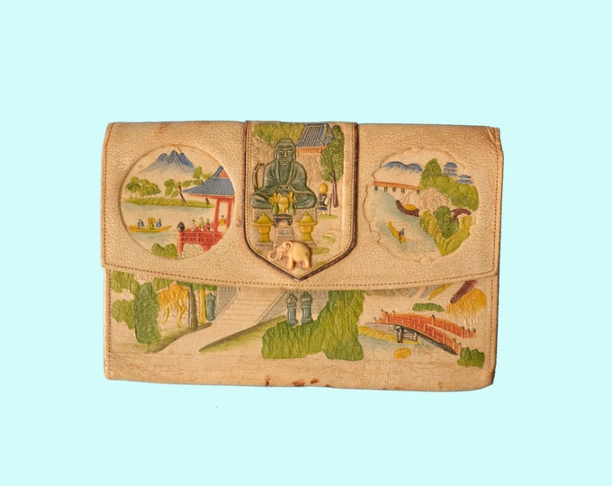1930s Exotic Asian Painted Tooled Leather Clutch