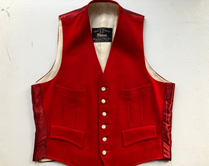1960s red wool coachmen's vest England sz 40