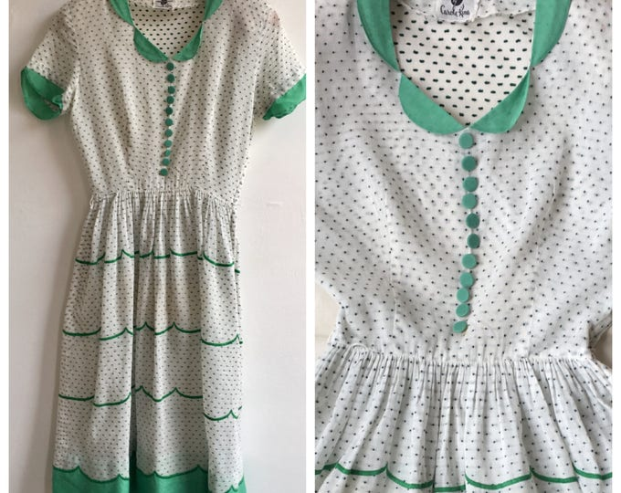 1950s Green and White Cotton Voile Summer Dress, size small