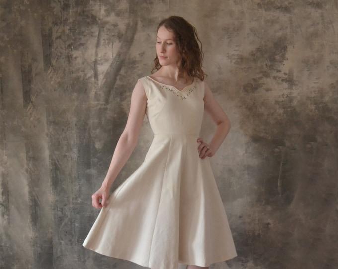 1950s White Satin Dress size XXS