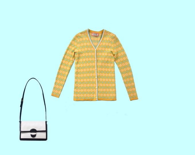 Oscar de la Renta Sweater Set in Mustard and Teal size S