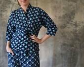 1950s Japanese Hand-Dyed Indigo Kimono Top and Hakama Trousers