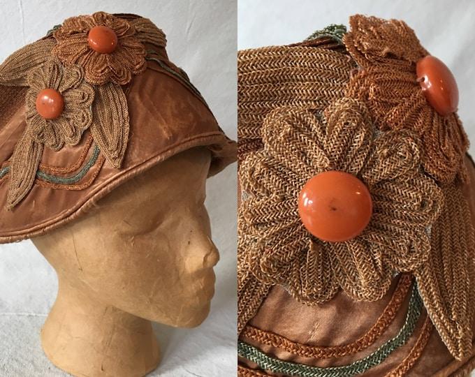 1920's Woven Raffia Cloche, Flapper Hat