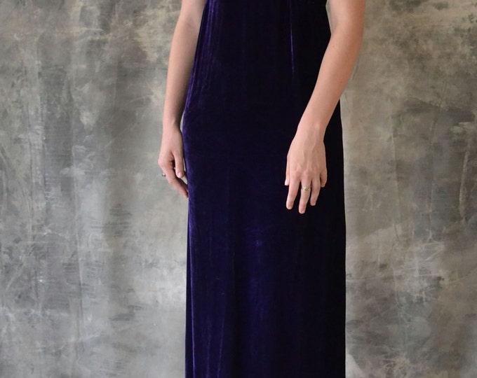 1970's Royal Purple Velvet Dress