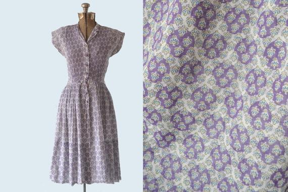 1950s Cotton Voile Purple Print Dress size S