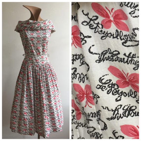 1950s Cotton Butterfly Print Dress, size Medium