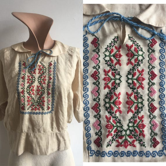 1910s Silk Embroidered Peasant Blouse, size xs - image 1