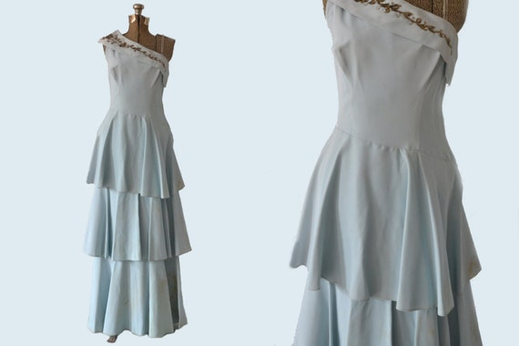 1950s Tiered Blue Party Dress