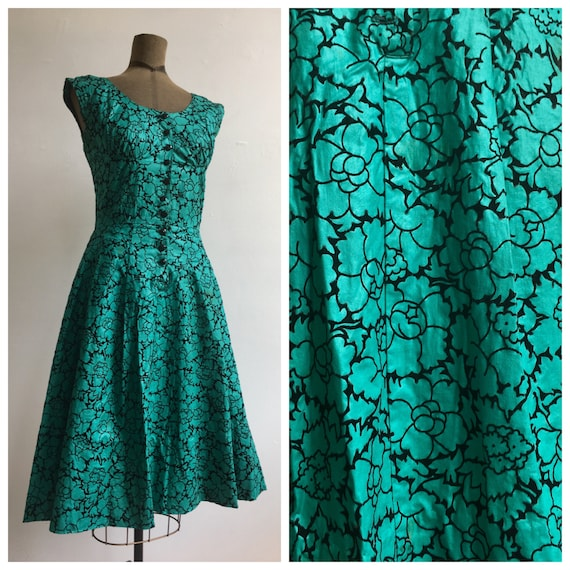 1950s Hand Made Teal and Velvet Party Dress