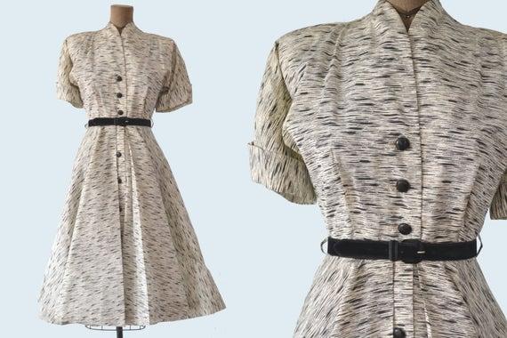 1950s Black and White Satin Dress size S
