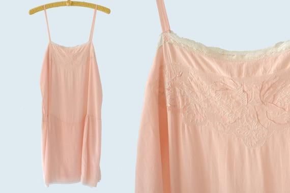 1940s Pink Silk Romper Slip size M